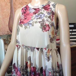 Floral sheer babydoll style top nwot